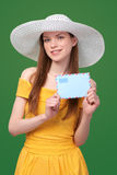 Woman with blank envelope Stock Photos