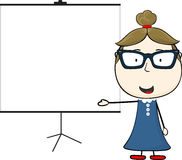 Woman and blank flip chart Royalty Free Stock Photo