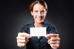 Woman with blank message Stock Images