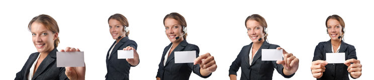 The woman with blank message on white Stock Photos