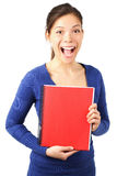 Woman with blank notebook Stock Photos