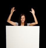 Woman with blank notice board Stock Photo