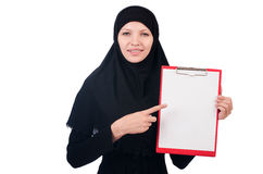 Woman with blank page. On white Royalty Free Stock Photography