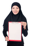 Woman with blank page. On white Stock Photography