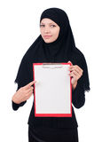 Woman with blank page. On white Stock Photo