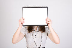 Woman with blank paper Royalty Free Stock Photos