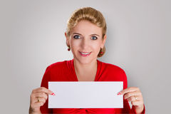 Woman with blank paper Royalty Free Stock Photography