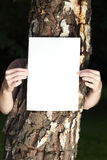 Woman with blank paper outdoor. Tree Royalty Free Stock Image