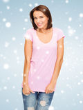 Woman in blank pink t-shirt Stock Photo