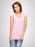 Woman in blank pink t-shirt Royalty Free Stock Image