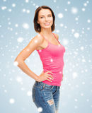 Woman in blank pink tank top Stock Photography