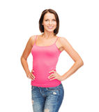 Woman in blank pink tank top Royalty Free Stock Images