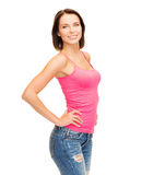 Woman in blank pink tank top Royalty Free Stock Photo