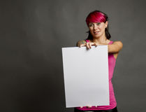 Woman with blank sign Royalty Free Stock Photo