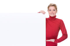 Woman with blank sign Royalty Free Stock Image