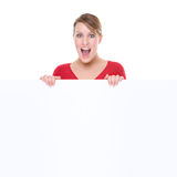 Woman with blank sign Stock Image