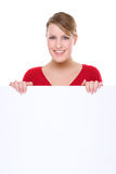 Woman with blank sign Royalty Free Stock Images