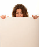 Woman with a blank sign Royalty Free Stock Photography