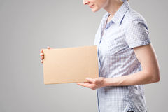 Woman with a Blank Sign Stock Photo