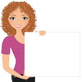 Woman blank sign Stock Photography