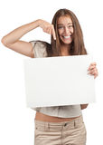 Woman with blank signboard Stock Images