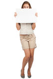 Woman with blank signboard Stock Photo