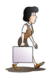 Woman with blank suitcase Royalty Free Stock Image