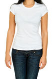 Woman with a blank t-shirt Stock Images
