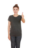 Woman in blank t-shirt with thumbs up Royalty Free Stock Image