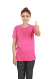 Woman in blank t-shirt with thumbs up Stock Photography