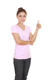 Woman in blank t-shirt with thumbs up Stock Image
