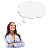 Woman and Blank Thought Bubbles Stock Photos
