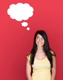 Woman with blank thought cloud Royalty Free Stock Image