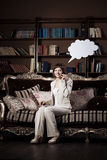 Woman with blank of thought and  talking  bubble Royalty Free Stock Images