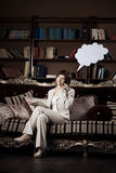 Woman with blank of thought and  talking  bubble Royalty Free Stock Photography