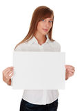 Woman with blank white board Royalty Free Stock Image