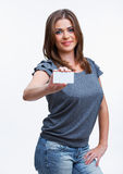 Woman with blank white board Royalty Free Stock Photography