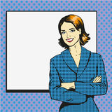 Woman with blank white paper poster. Pop art comic retro style vector illustration.. Put your own text template Royalty Free Stock Image