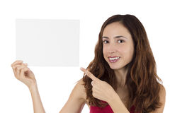 Woman with blank white poster for advertisement Royalty Free Stock Photo