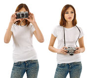 Woman with blank white shirt and camera Royalty Free Stock Image