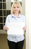 Woman with blank white sign Royalty Free Stock Images