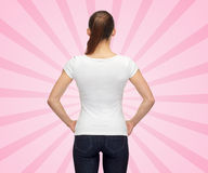 Woman in blank white t-shirt Stock Image