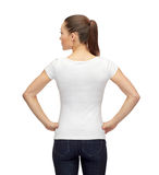 Woman in blank white t-shirt Stock Photos