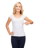 Woman in blank white t-shirt Stock Photography