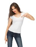 Woman in blank white t-shirt Royalty Free Stock Photos