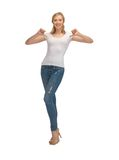 Woman in blank white t-shirt Royalty Free Stock Image