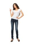 Woman in blank white t-shirt pointing her finger Royalty Free Stock Image