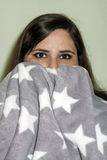 Woman with blanket Royalty Free Stock Photos