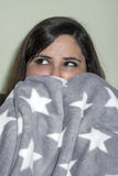 Woman with blanket Royalty Free Stock Photography