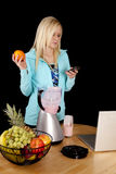 Woman blender text orange Stock Images